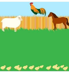 Card design with farm animals vector image