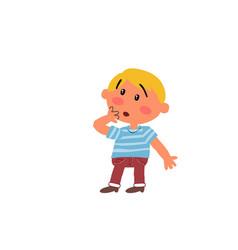 Cartoon character boy in surprise vector
