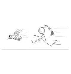 Cartoon man or businessman chasing big fly vector