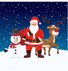 cartoon santa claus snowman and reindeers vector image
