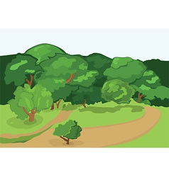 Cartoon village road and green trees vector image