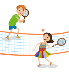 Children playing tennis vector