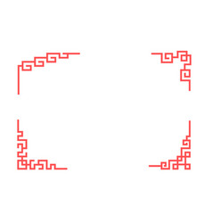 chinese corner ornament in linear style vector image