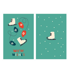 Christmas greeting cards with skates and mittens vector