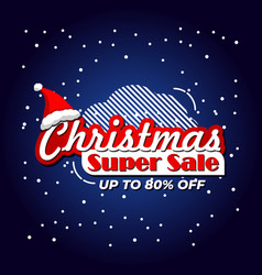 christmas sale banner template with snow vector image