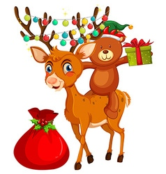 Christmas theme with bear and reindeer vector