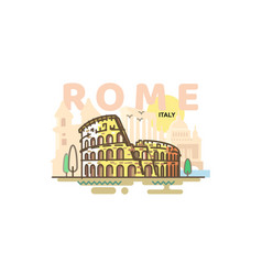 city rome in outline style on white background vector image
