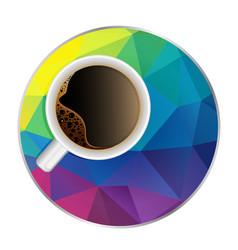 Coffee cup in modern multicolor polygonal low vector