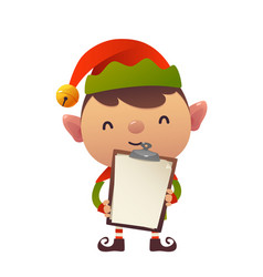 cute christmas elf holds in his hands blank vector image