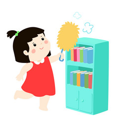 Cute girl wiping the dust from bookshelf vector