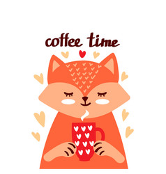 Cute red fox with coffee vector