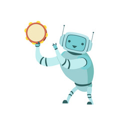 Cute robot musician playing tambourine musical vector