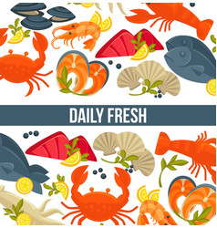 daily fresh seafood commercial banner with exotic vector image