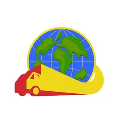 Delivery Truck Lorry Globe Retro vector image