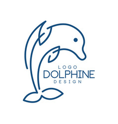 dolphine logo template nautical design element vector image