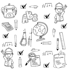 Doodle of hand draw school tools vector