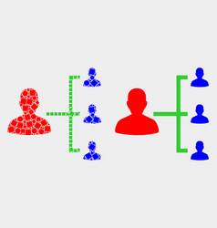Dotted and flat people hierarchy icon vector