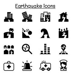 Earthquake icon set vector