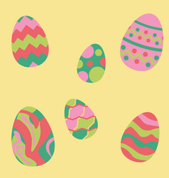 Easter eggs set isolated group vector