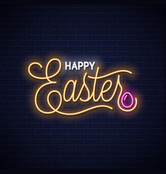Easter neon vintage lettering on wall background vector