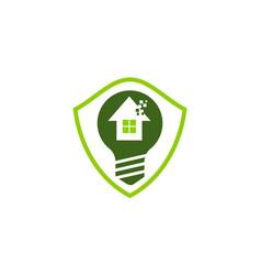 Eco home shield bulb vector