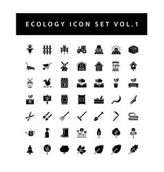 ecology icon set with black color glyph style vector image