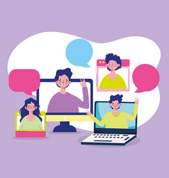 education online laptop students cartoon vector image