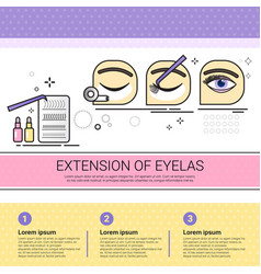 Extension of eyelas cosmetology infographics salon vector