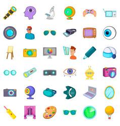 eyesight icons set cartoon style vector image