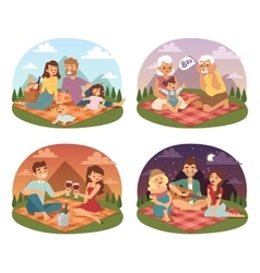Family picnicking summer happy lifestyle park vector