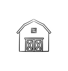 Farm barn hand drawn sketch icon vector