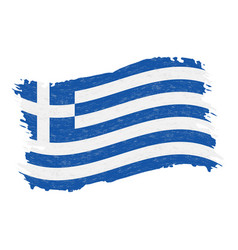 flag of greece grunge abstract brush stroke vector image
