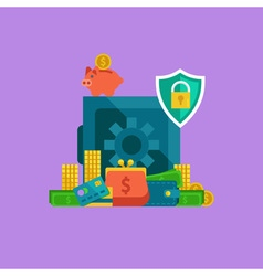 Flat concept of banking safe box and protection of vector image