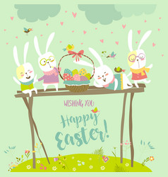 funny bunnies celebrating easter vector image
