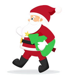 funny santa claus with christmas tree vector image