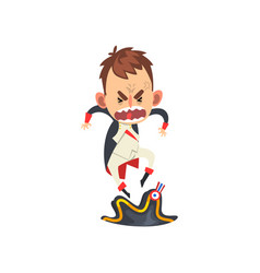 Furious napoleon bonaparte cartoon character vector