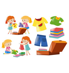 Girls and set of clothes vector