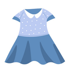 Girls dress with collar and dots child clothes vector