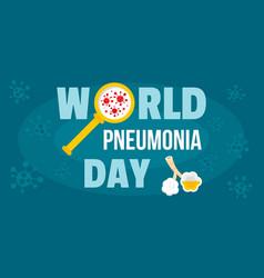 Global pneumonia day banner horizontal flat style vector