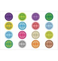 Globe earth logo icon set vector