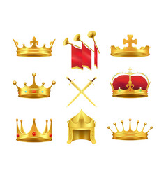 Golden ancient crowns and swords set on white vector
