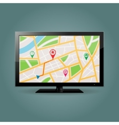 GPS map on TV screen vector