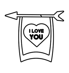 Greeting i love you heart arrow ribbon outline vector