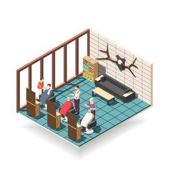 Hair salon isometric composition vector