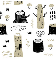 hand drawn seamless pattern with forest trees vector image