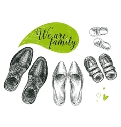 hand drawn with family shoes vector image
