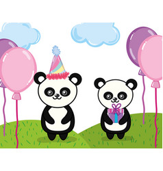 happy birthday panda cartoon vector image