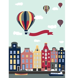 Hot air balloons flying over the town vector
