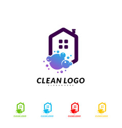 house cleaning logo concept design cleaning home vector image