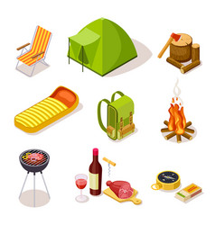 Isometric camping summer picnic with fireplace vector